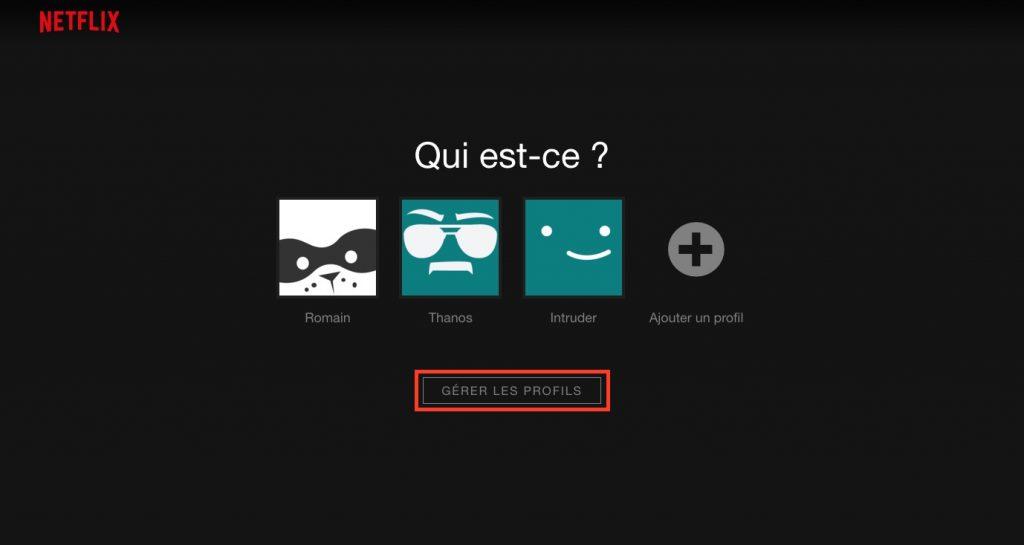 supprimer profil Netflix