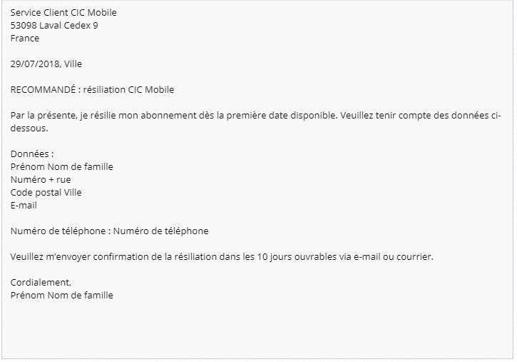 lettre resiliation CIC Mobile