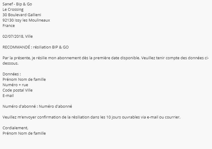 lettre résiliation BIP and GO