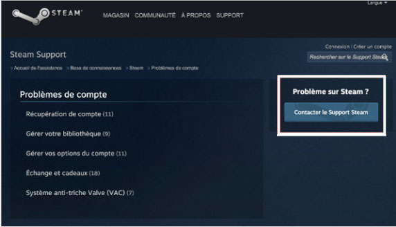 contacter le support Steam