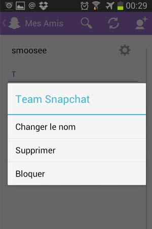 supprimer contact snapchat