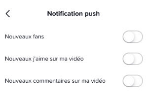 Désactiver les notifications Tiktok