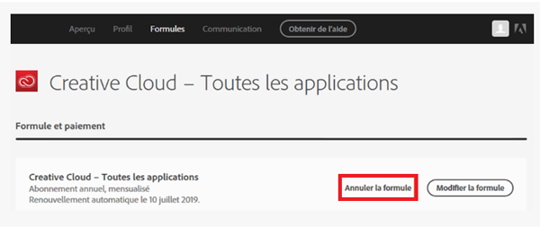 annulation d'une formule creative cloud