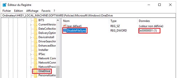 Désactivation one drive de windows 10