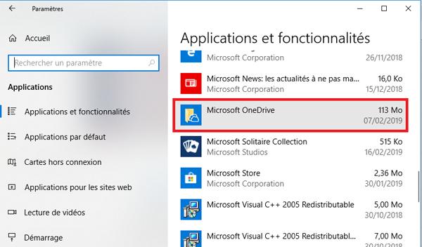 Désinstaller le logiciel Microsoft Onedrive