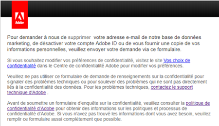 Demande de suppression d'un compte adobe