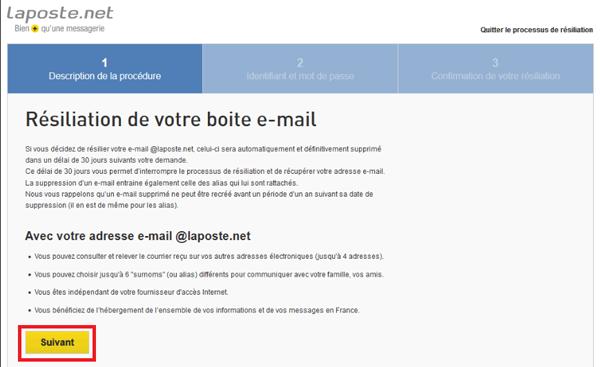 Effacer son adresse email@laposte.tn