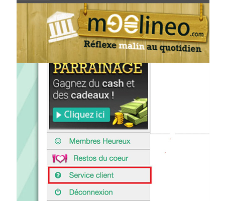 Contacter le service client Moolineo