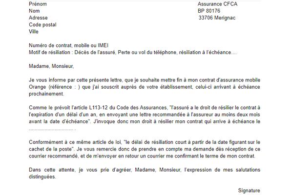 Modèle lettre de résiliation cfca assurance mobile orange