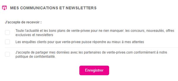 Ne plus recevoir des emails vente privée