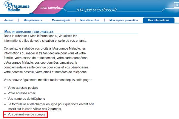 Suppression du compte ameli.fr
