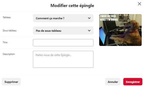 Modifier ou supprimer une épingle sur Pinterest