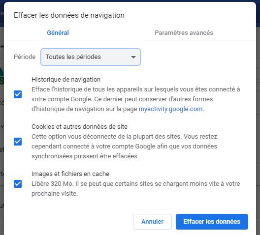 effacer manuellement l'historique de Google Chrome