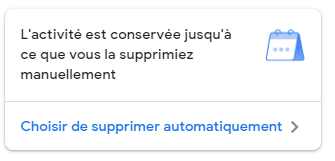 choisir la suppression automatique de l'historique sur Google
