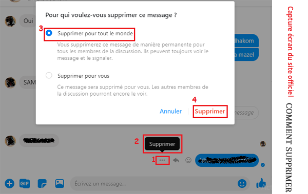 Comment effacer un message envoyé sur messenger?