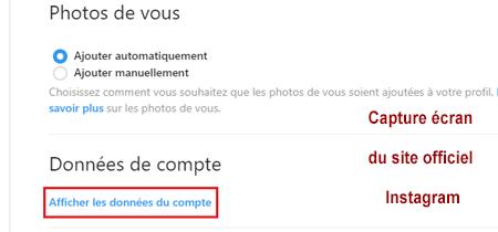 Afficher les données du compte Instagram