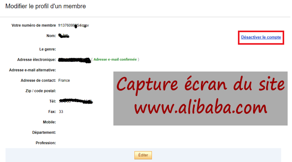Désactiver son compte alibaba.com