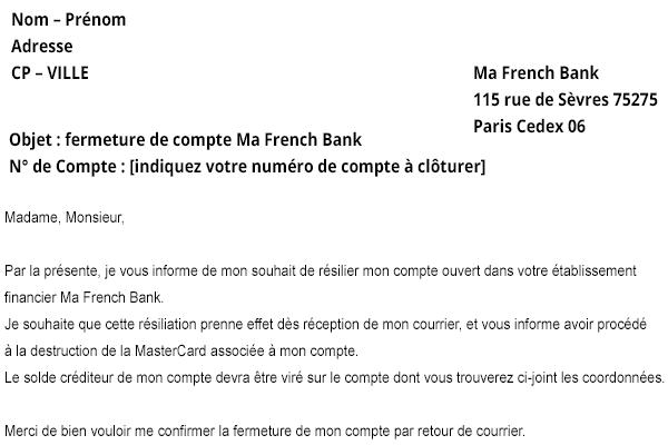 lettre de résiliation Ma French Bank