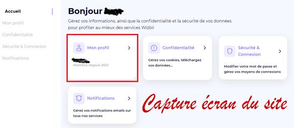 Effacer mon profil et supprimer mon compte Wizbii en ligne.