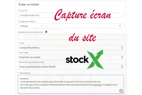 Demande de suppression de compte Stockx.