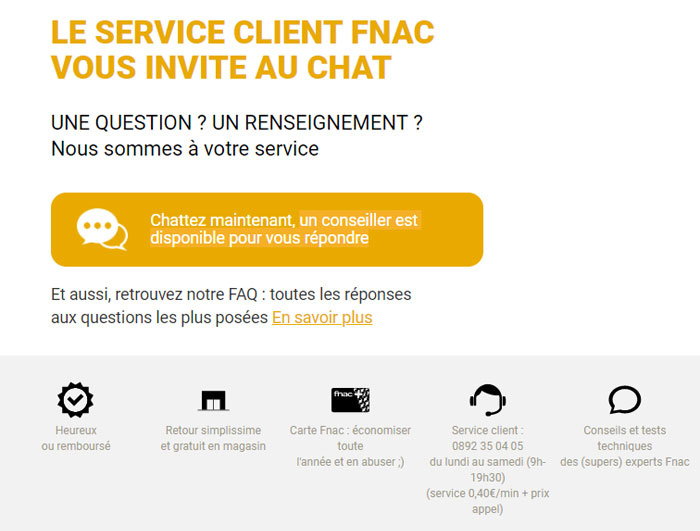Contacter le Service Client Fnac