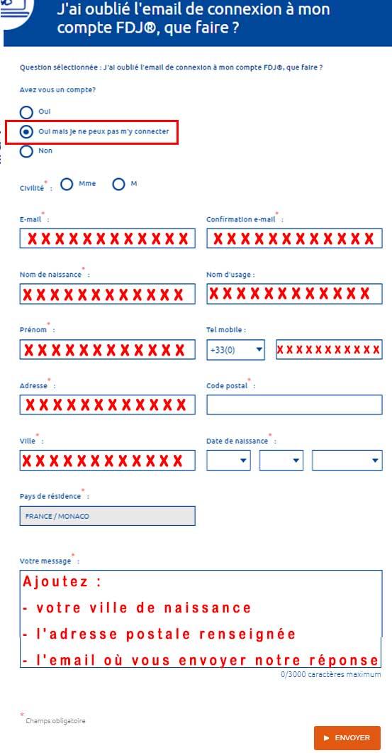 Retrouver adresse email du compte FDJ