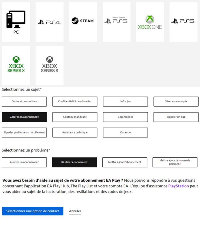 Annuler un abonnement EA Play