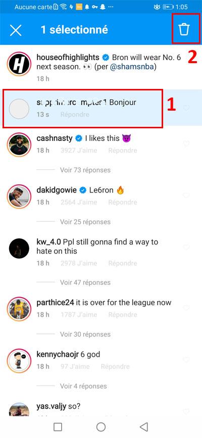 Supprimer un commentaire Instagram