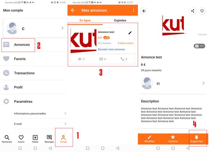 Supprimer une annonce leboncoin sur l'application mobile